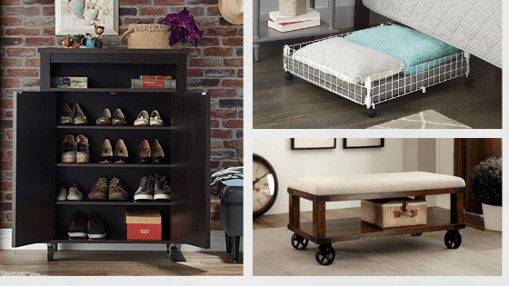rolling shoe storage from under bed to
