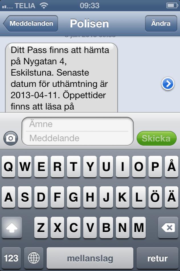 sms från polisen :)