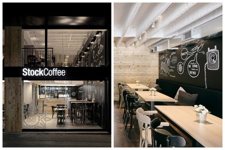 Un caf  la dco noire et bois