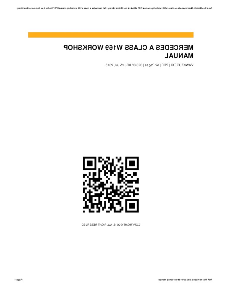 Mercedes W169 Workshop Manual for sale in UK