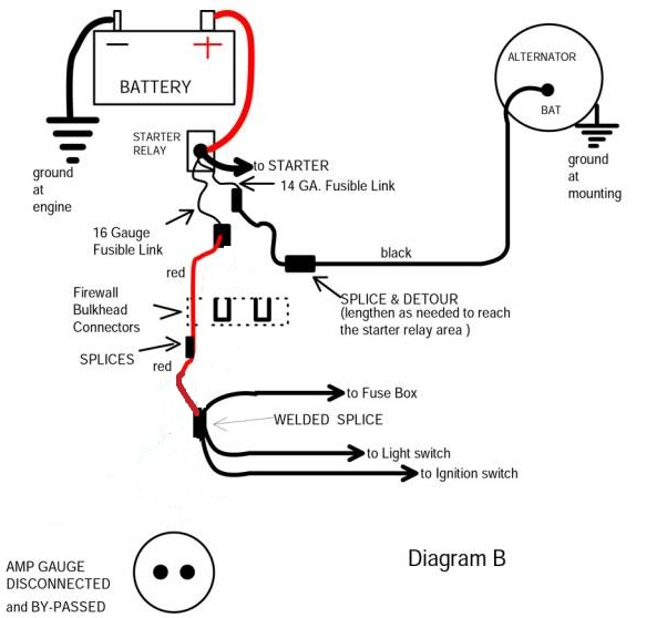 one wire alternator wiring diagram mopar 4age ecu bypassing the amp gauge - question about mad electrical method | for a bodies only forum