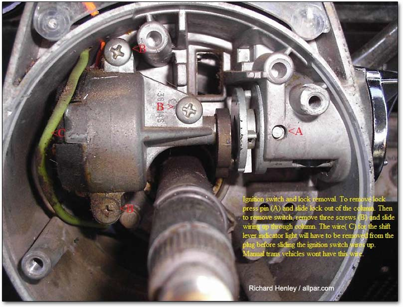 1980 Chevy Starter Wiring Dart Ignition Switch Removal For A Bodies Only Mopar Forum