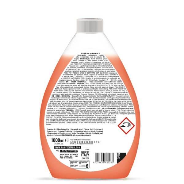 detergente anticalcare liquido ultra concentrato da diluire in acqua in flacone da 1000 ml HC2A igienikal codice 1703