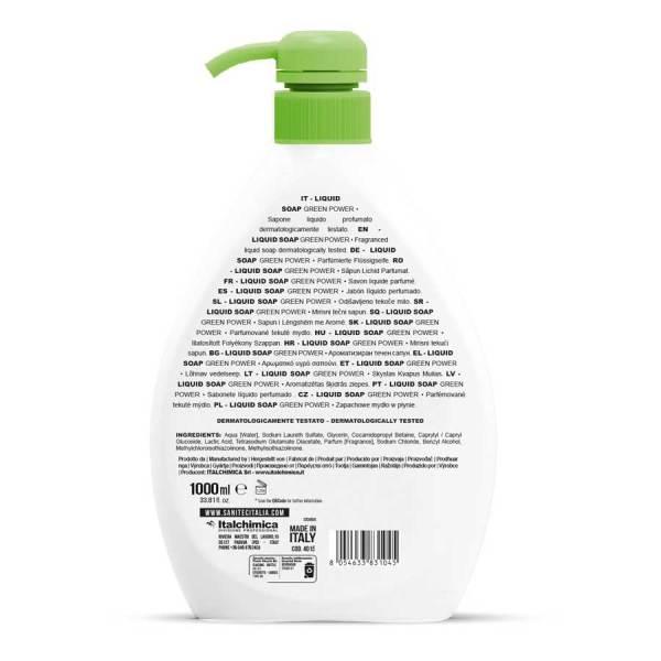 sanitec sapone ecologico senza coloranti profumato per corpo capelli e mani in dispenser da 1000 ml liquid soap green power codice 4015