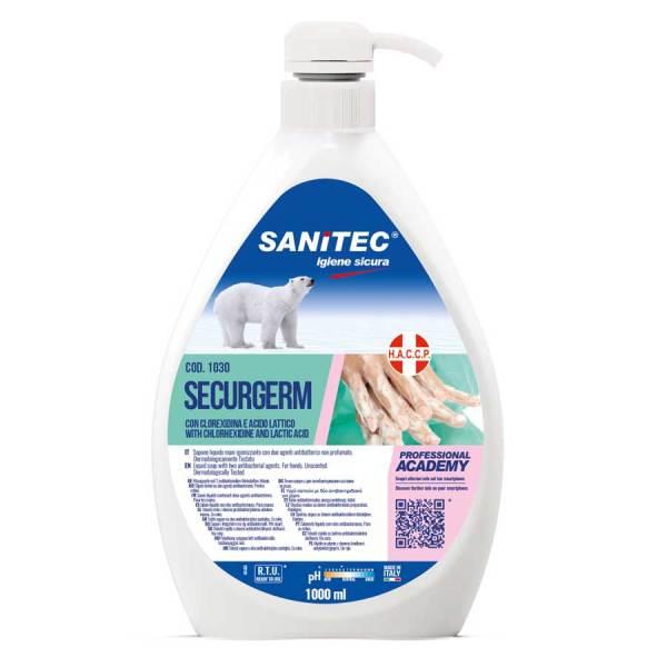 sapone liquido per mani non profumato con antibatterico clorexidina e acido lattico in dispenser da 1000 ml codice 1030