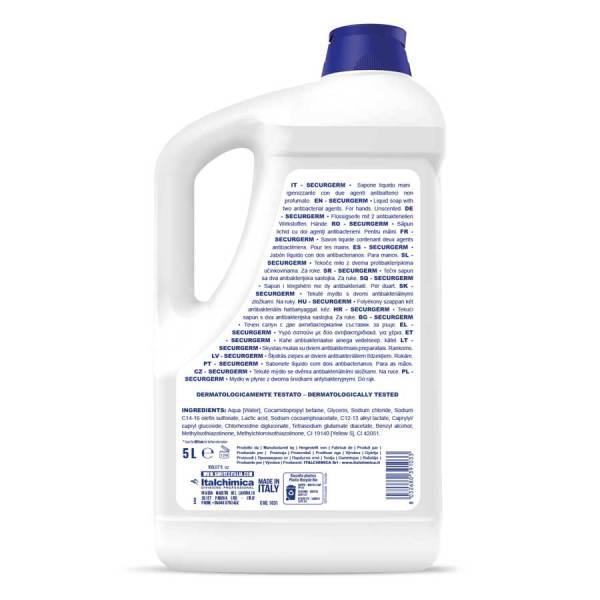 sapone liquido per mani non profumato con antibatterico clorexidina e acido lattico in tanica da 5 kg codice 1031
