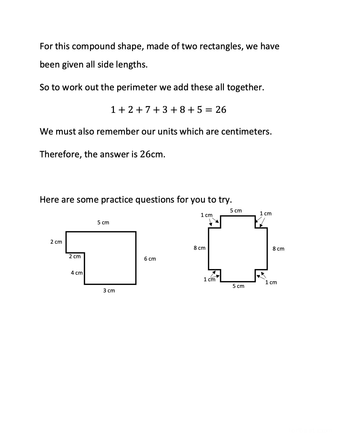 Grade 3 Math The Perimeter Of The Compound Shapes