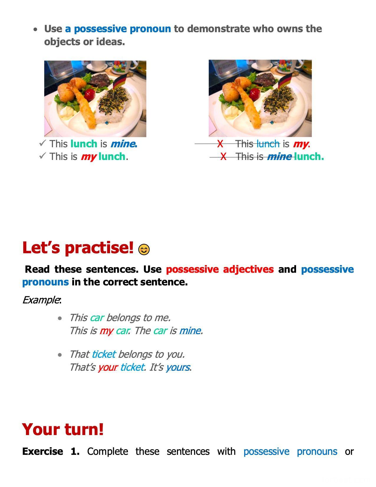 hight resolution of Grade 3 English: Possessive Pronoun (1) - Grade 3 - FORBEST ACADEMY