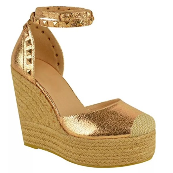 d211cd18d5f Home   Shoes   Heels   Lucy Rose Gold High Wedge Heel Platform Studded  Espadrille Sandals