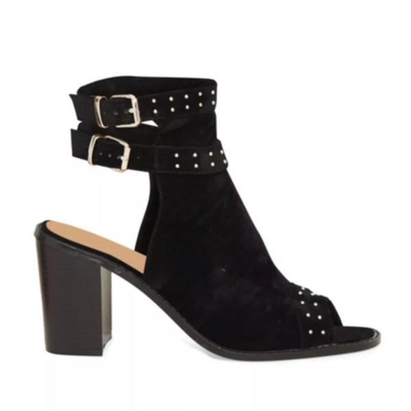099b673b81 Home / Shoes / Heels / Vicky Black Studded Block Heel Peep Toe Boots Open  Back Boot Sandal