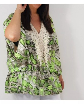 Shelby Snake Print Top - Neon Green