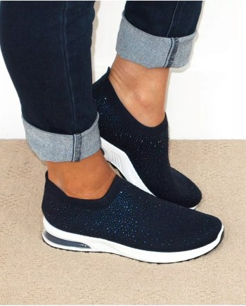 Sonia Sparkly Sock Trainers - Navy