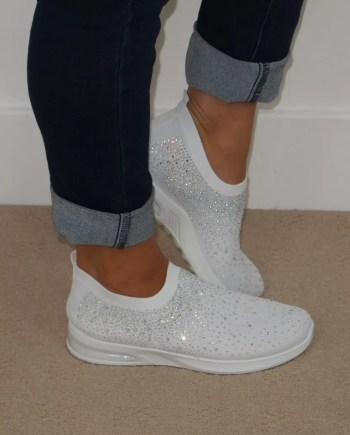Sonia Sparkly Sock Trainers - White