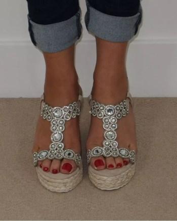 Esme Diamante Platform Wedge Espadrille Sandals - Beige