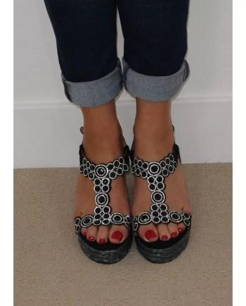 Esme Diamante Platform Wedge Espadrille Sandals - Black