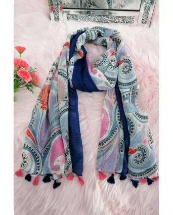 Dolly Cotton Mix Print Scarf - Blue