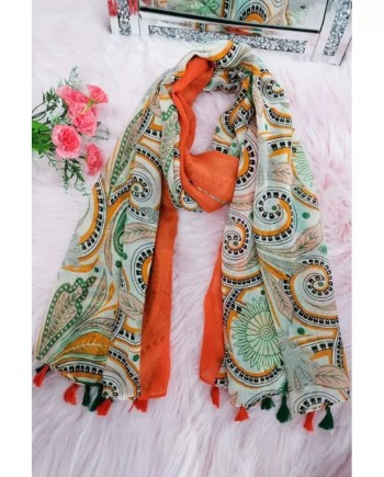 Dolly Cotton Mix Print Scarf - Orange