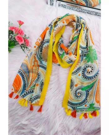 Dolly Cotton Mix Print Scarf - Yellow