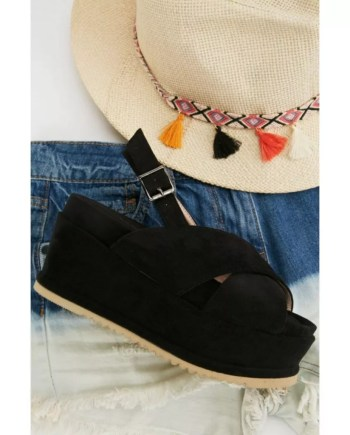 Carina Flat Wedge Crossover Strap Sandals - Black
