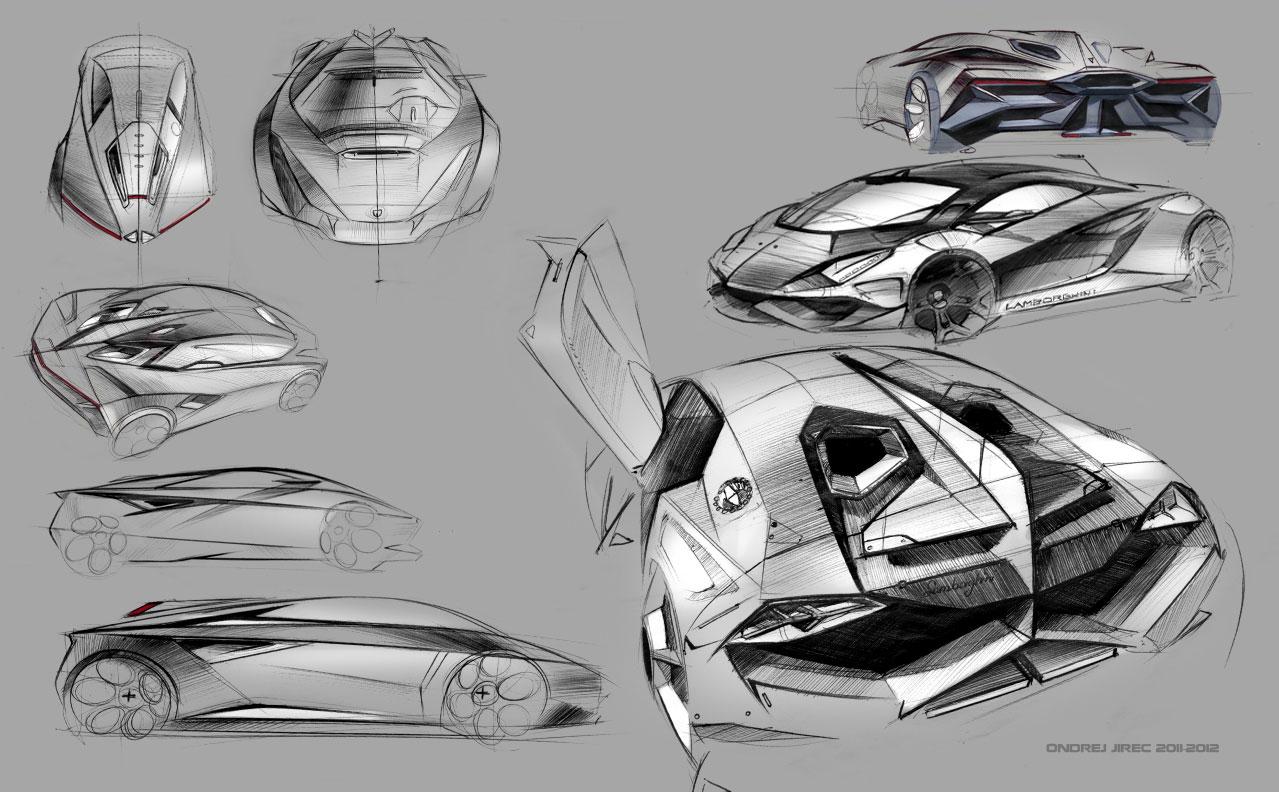 Lamborghini Perdigon Concept Design Sketches 01