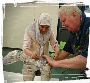 Bob Daly facilitating a papier mache community workshop (SpinFX AustrAliA)