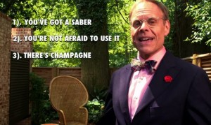 CHAMPAGNE SABER TIME! Follow Along As Alton Brown Shows You How To Pop A Cork With Style