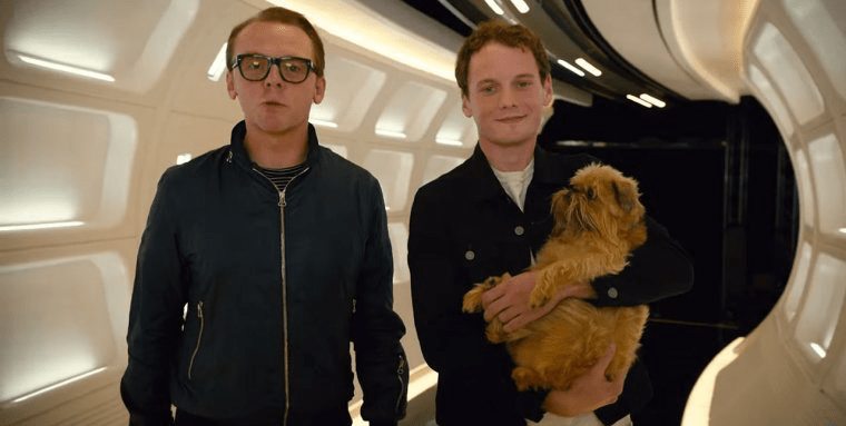 Simon Pegg and the late Anton Yelchin on set