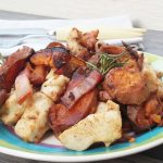 Bocconcini di pollo con patate dolci al forno