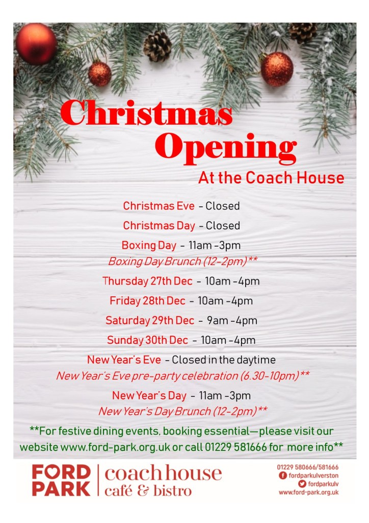 Christmas opening times for Coach House Cafe