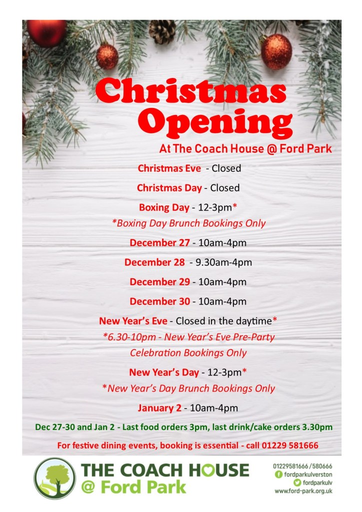 Christmas opening hours for The Coach House @ Ford Park