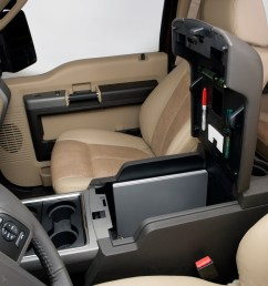 the rear facing portion of the 2011 ford super duty s flow through console includes two more cup holders a 12 volt powerpoint a 110 volt inverter socket  [ 3000 x 2000 Pixel ]