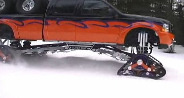 Snow Tracks For Trucks >> Truckin Fast Ford F 350 With Snow Tracks Tears Up The Snow Ford