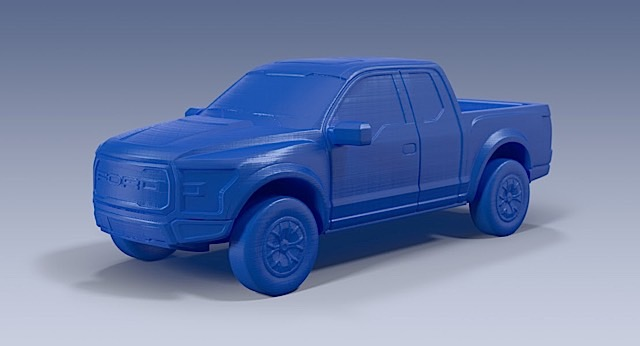 3D printed model of the Ford Raptor F-150 from the Ford 3D Store.