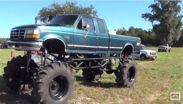 huge green f50 mud truck