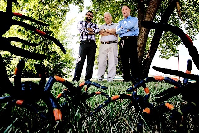 Ford's spidermen: A team of Ford engineers developed an innovative spider screen to keep the creepy crawlers from nesting in Ford vehicles. From left: Aram Sahota, William Euliss, David Gimby.
