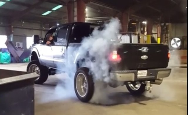 f250 indoor burnout