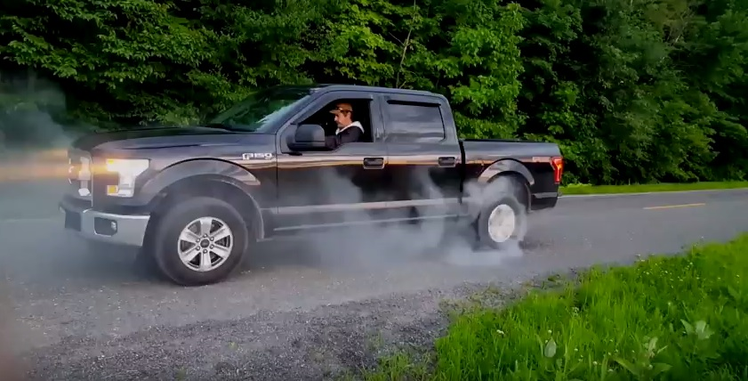 base v6 ford f150 burnout