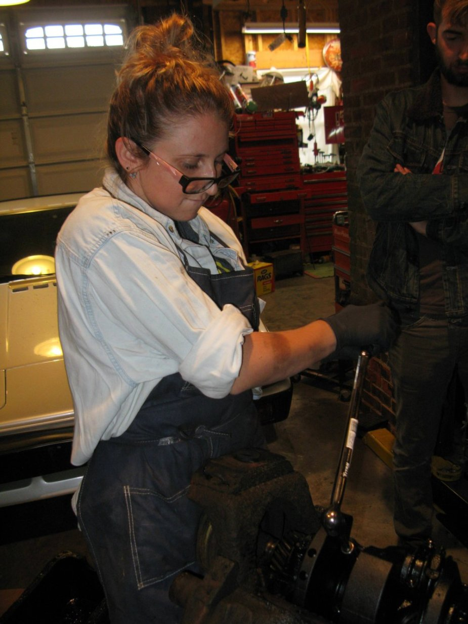 Allie Works on Engine