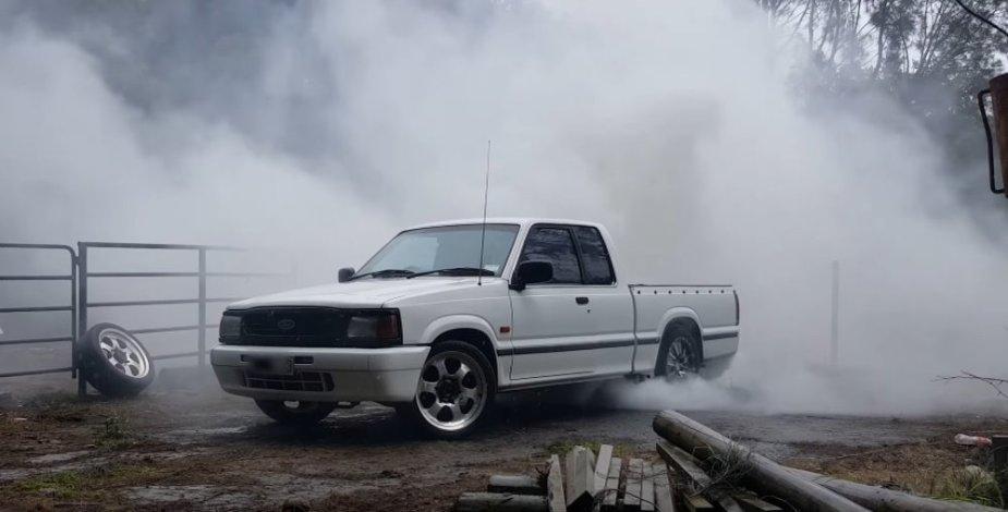 Ford Courier V8 Burnout