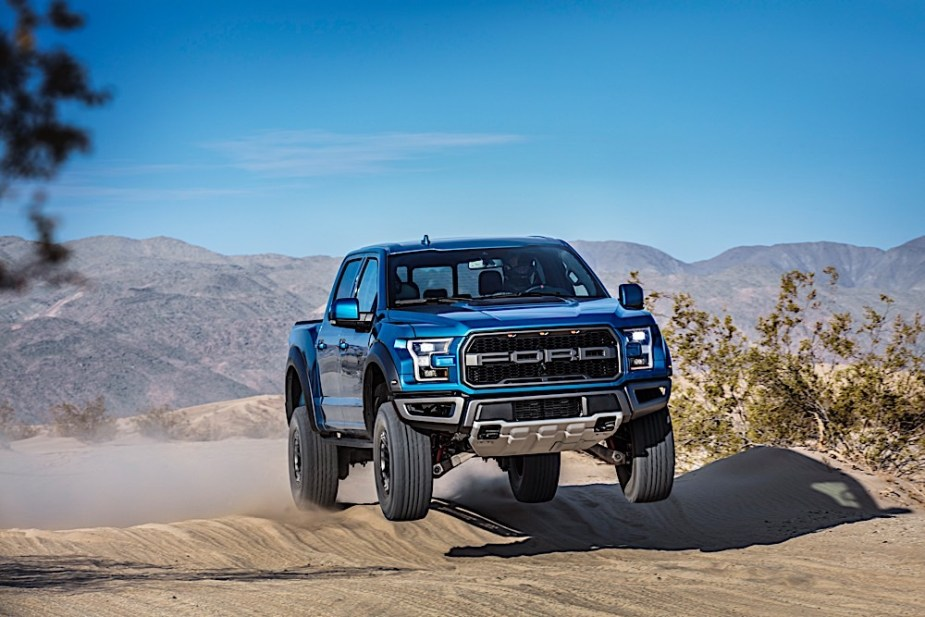 2019 Ford F-150 Raptor jumping