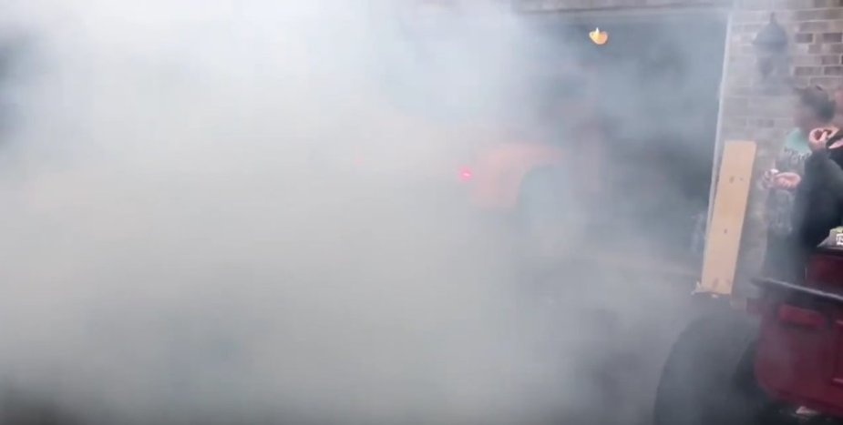 F-100 Burnout in the Garage