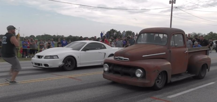 Ford F1 and Mustang Staged