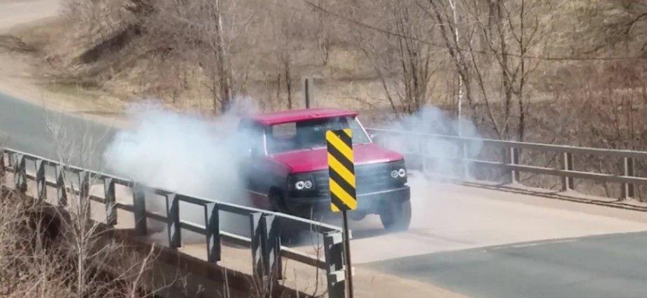 F-150 Burnout on a Bridge