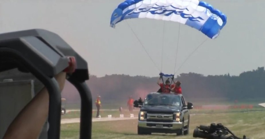 Skydiver in Ford F-250