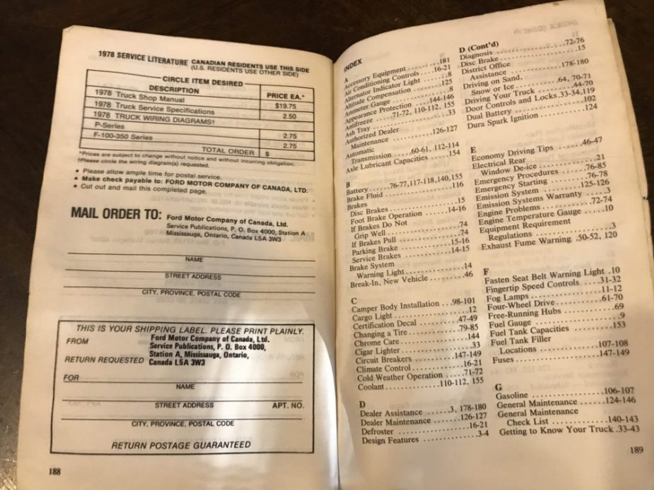 1978 Ford Truck Manual