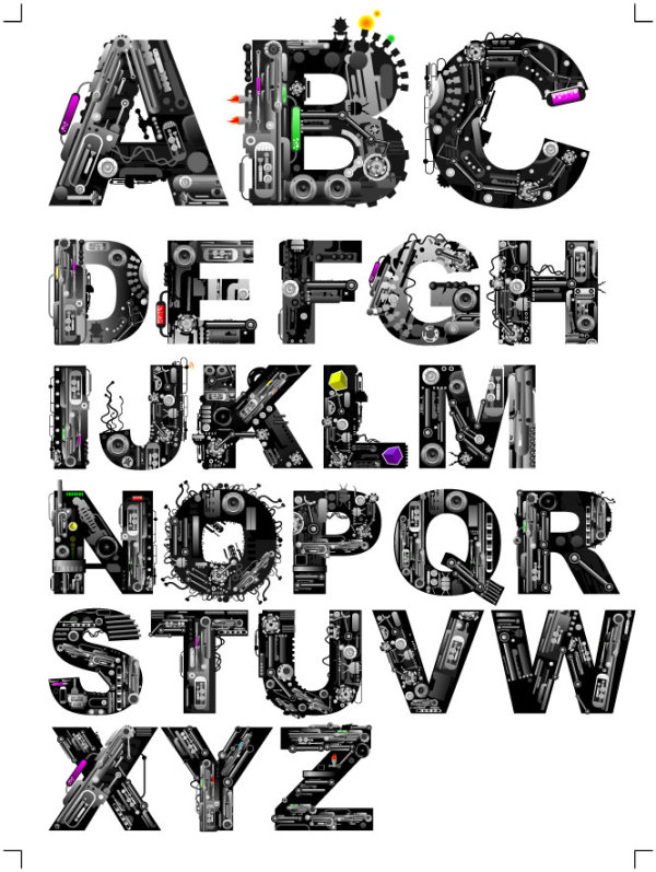 Mechanical letters Download Free Vector,PSD,FLASH,JPG--www
