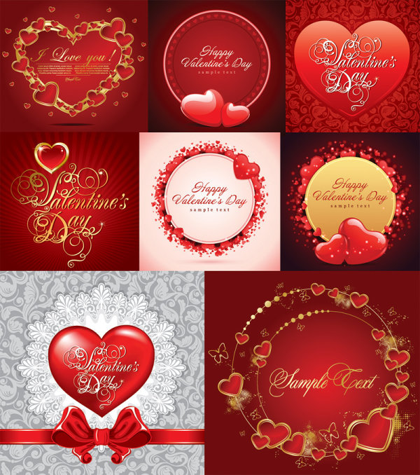 Romantic Greeting Cards Vector Material Download Free