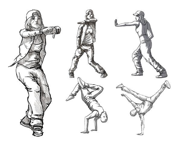 Dancing figures vector material Download Free Vector,PSD