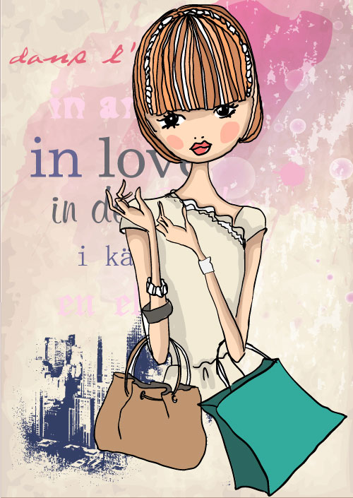 Computer Wallpaper For Teenage Girls Fashion Shopping Girl 05 Vector Download Free Vector Psd
