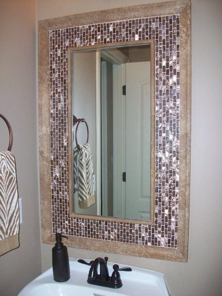 Bathroom Mirrors Kansas City seashell tile mirror for hall restroom - design matters l interior
